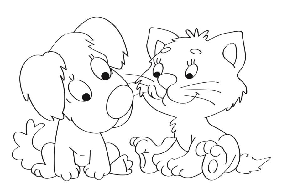 Простой рисунок для выжигания Котенок и щенок