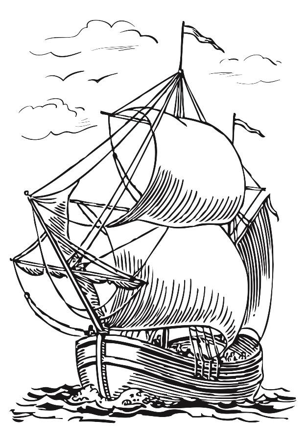 Рисунок для выжигания Корабль