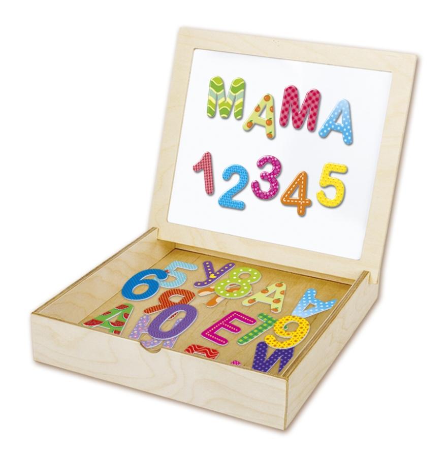 «Касса букв и цифр» в деревянной коробке с магнитной крышкой-полем