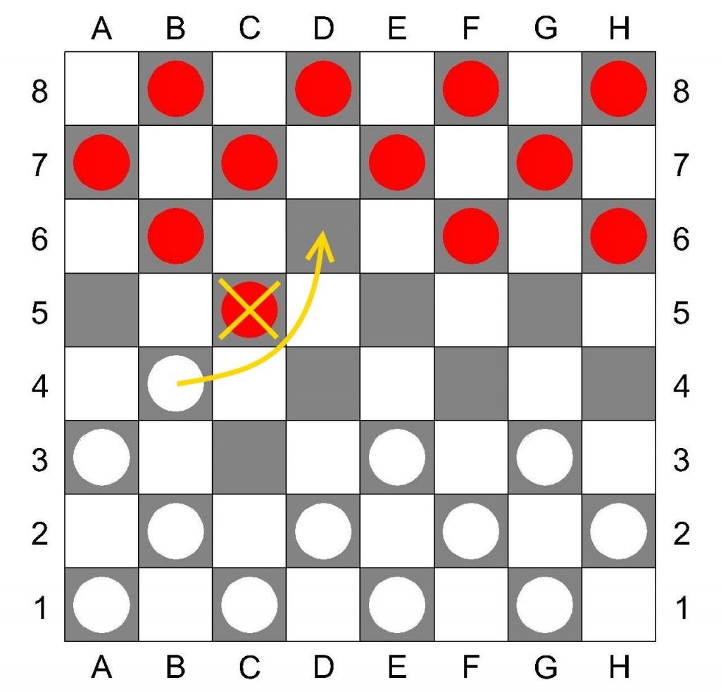 Взятие в русских шашках