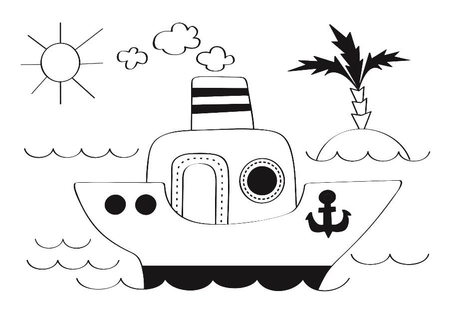 Детский рисунок для выжигания Кораблик