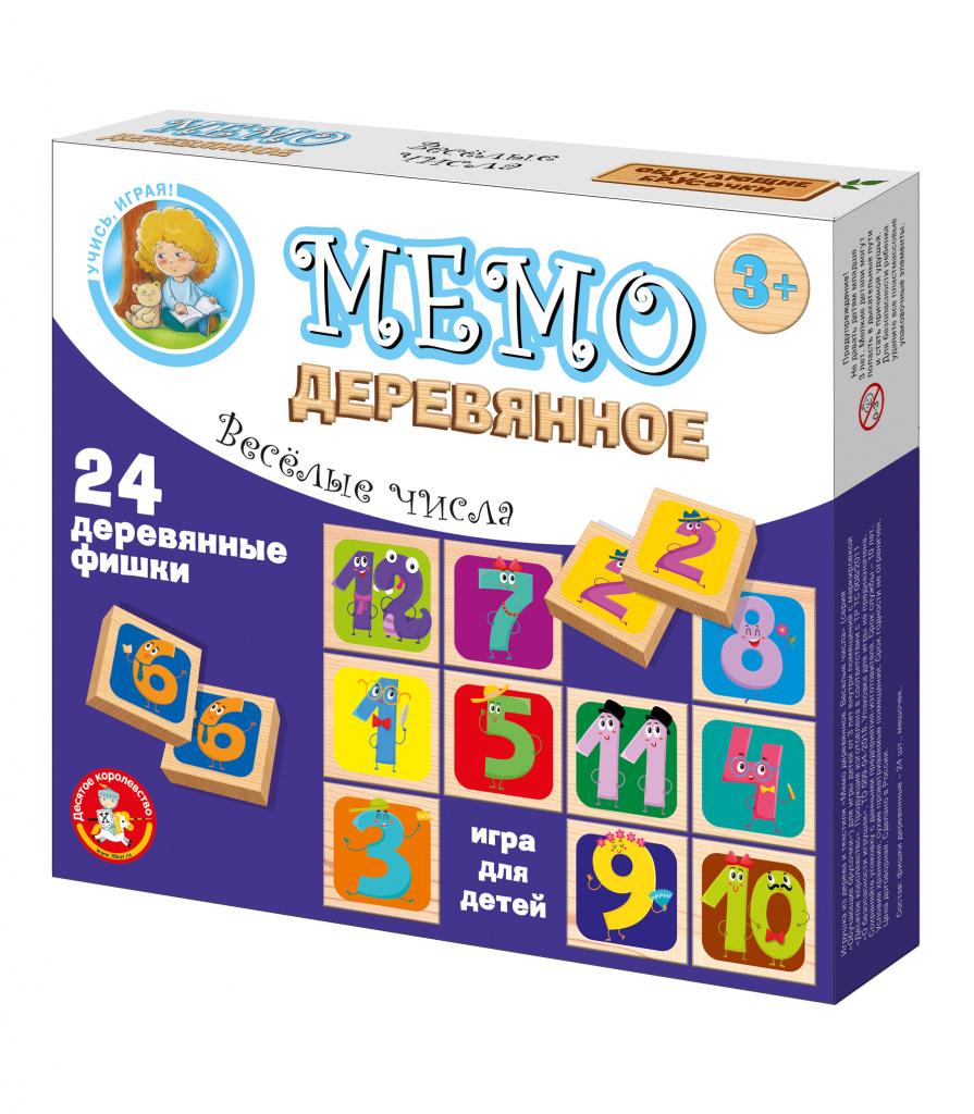 Настольная деревянная игра Мемо «Веселые числа»