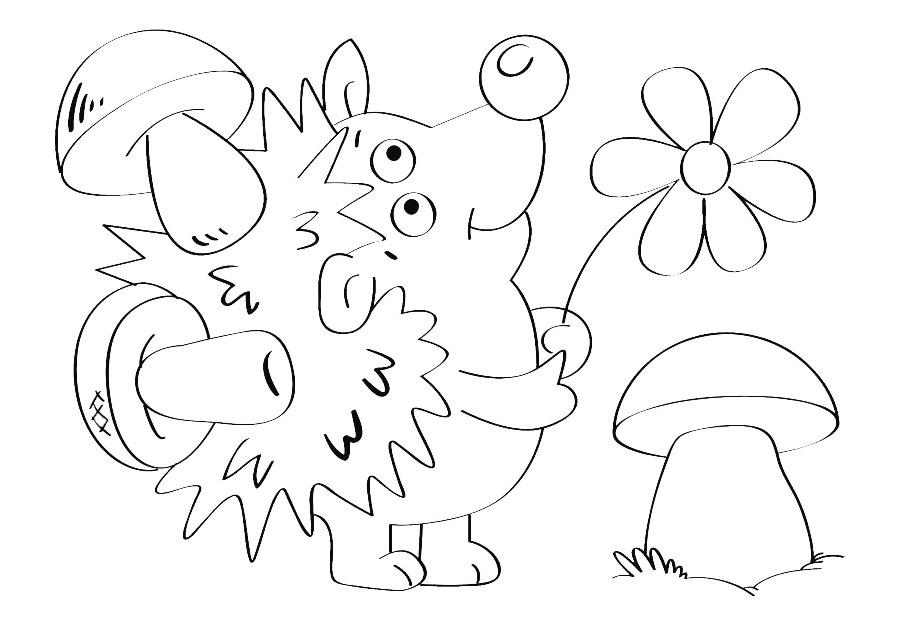 Детский рисунок ежик с грибами