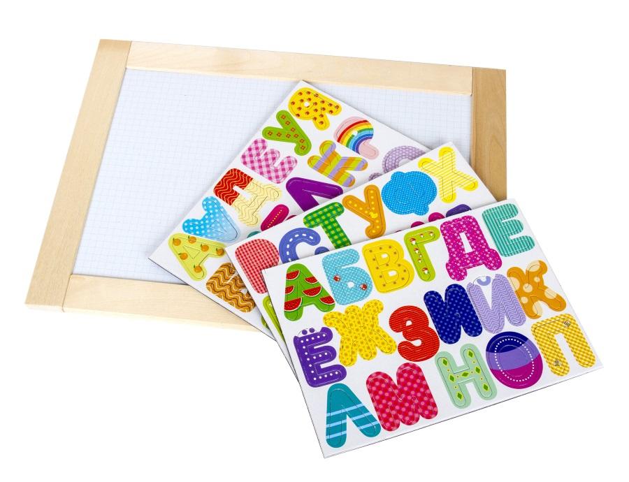 Доска двухсторонняя обучающая «Веселая азбука»