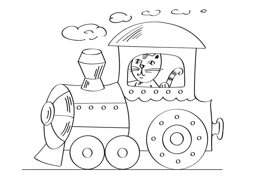 Детский рисунок для выжигания Паровозик