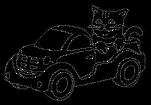 Простая картинка для выжигания Кот в автомобиле