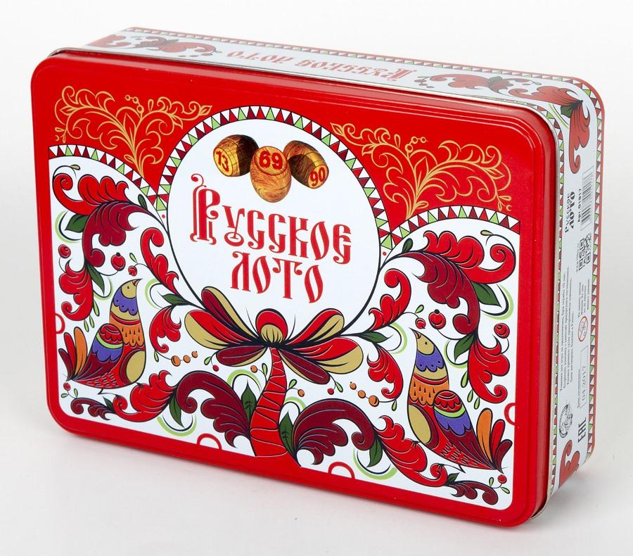 Русское лото в жестяной коробке «Узоры»