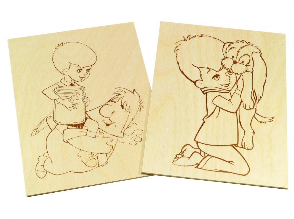Доски для выжигания «Малыш и Карлсон» (внутри)