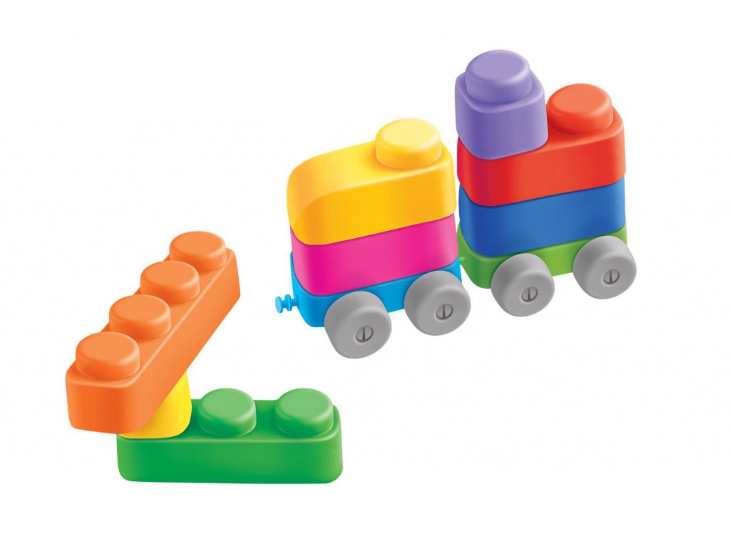 Конструктор для маленьких «Мягкие кирпичики» 10 деталей с колесиками