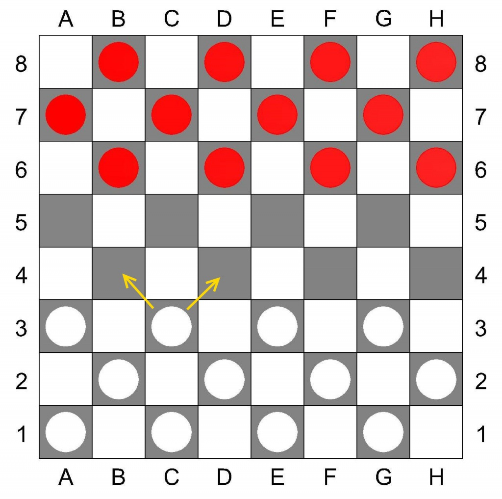 Русские шашки, игровое поле