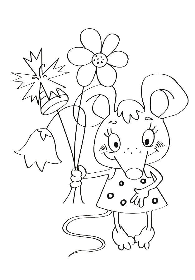 Детский рисунок для выжигания Мышка