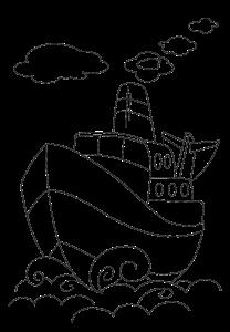 Простая картинка для выжигания Корабль